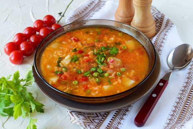 Potage aux légumes avec du riz photographie stock