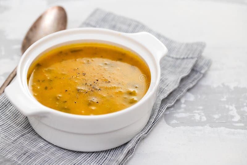 Potage aux légumes dans la cuvette blanche image stock