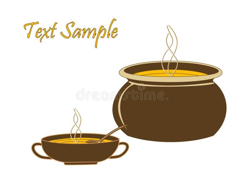 potage chaud de tasse de chaudron illustration stock