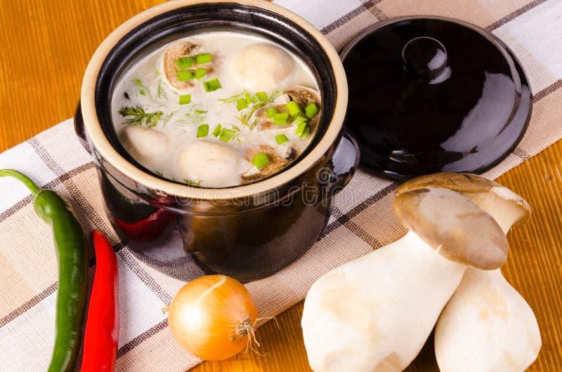 Potage crème avec des champignons de couche photographie stock