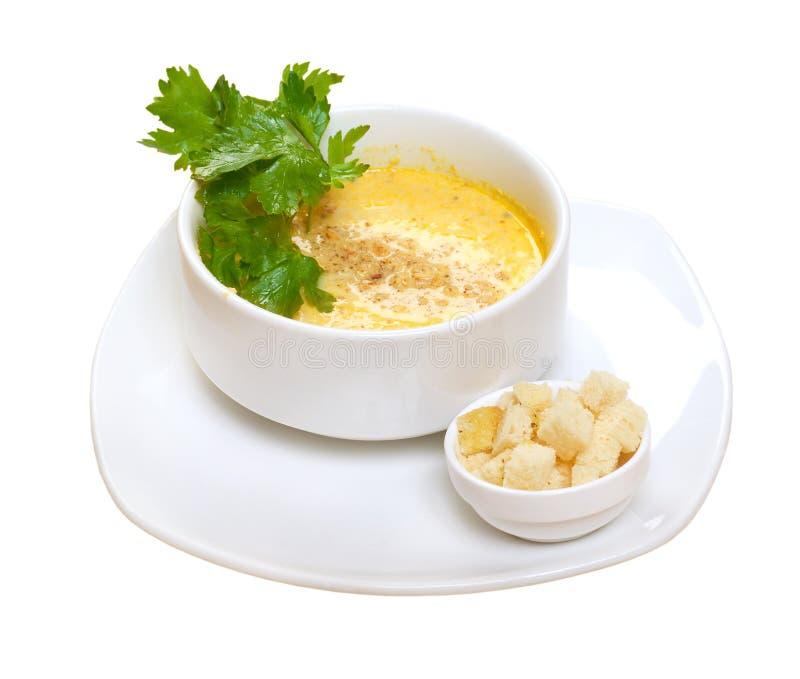Potage crème d'oignon préparé photos libres de droits