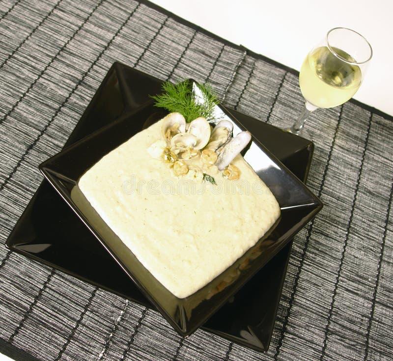 Potage crème de fruits de mer photographie stock libre de droits