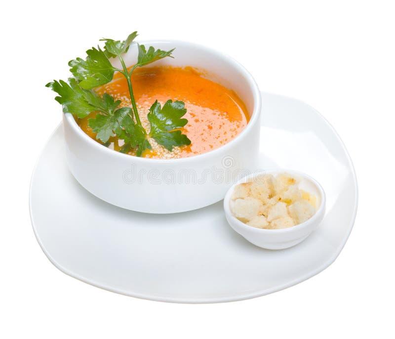 Potage crème végétal de tomate photographie stock libre de droits