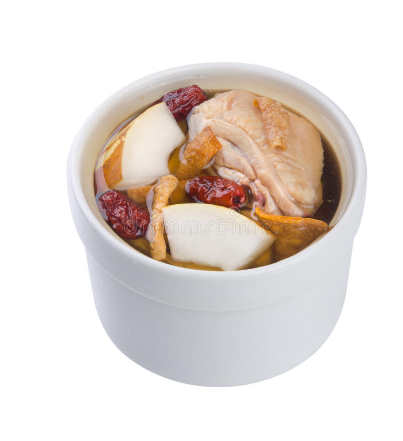 Potage d'herbe de poulet dans le bac, type chinois de nourriture. photo stock