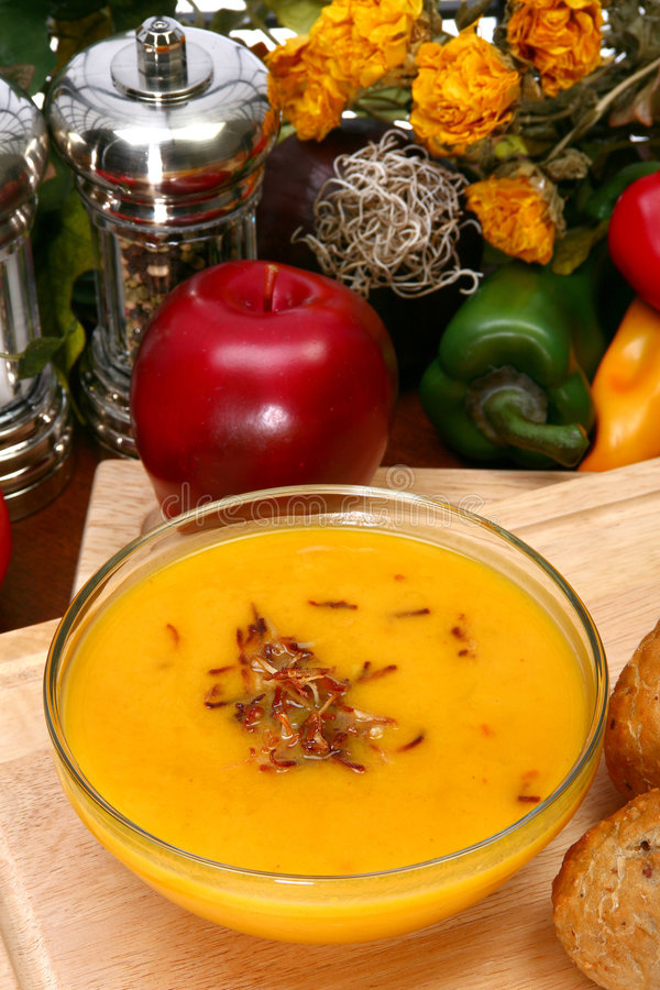 Potage de courge de Butternut image stock
