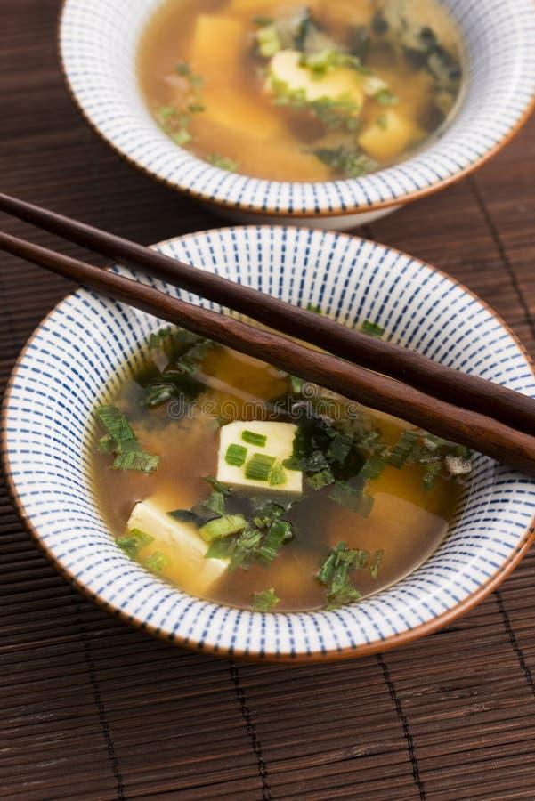 Potage de miso japonais image stock