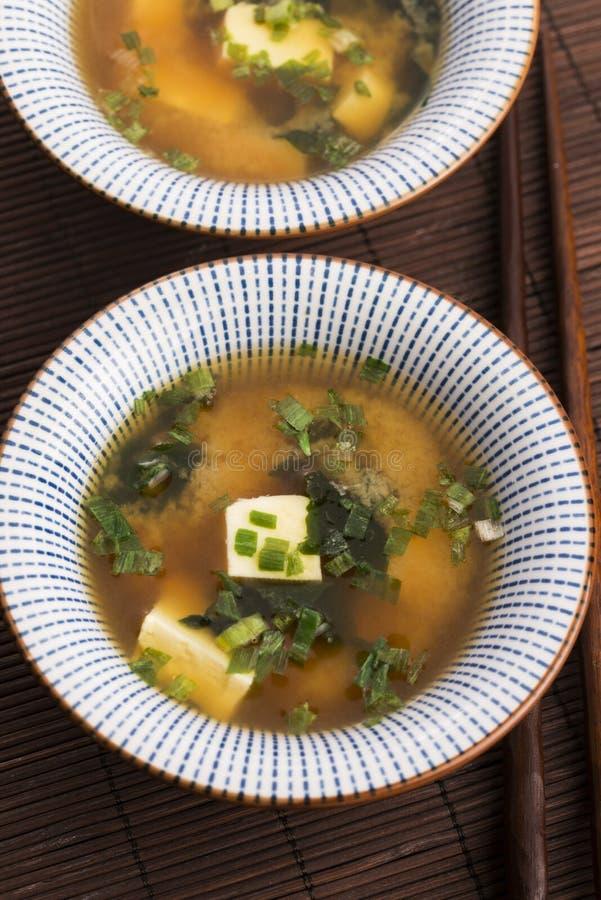 Potage de miso japonais images libres de droits