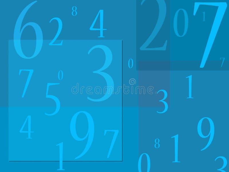 Potage de numéros à l'arrière-plan bleu illustration libre de droits