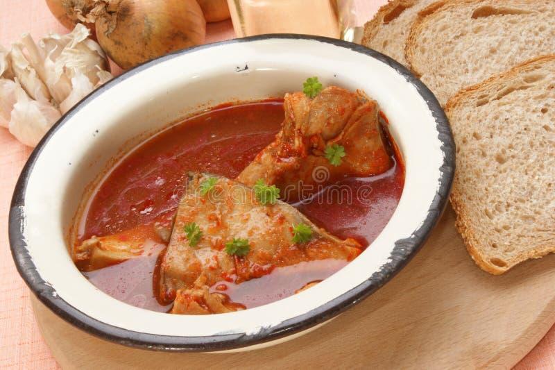 Potage de poissons de carpe dans une cuvette d'émail photographie stock libre de droits