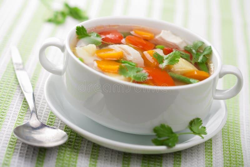 Potage de poulet avec des légumes images libres de droits