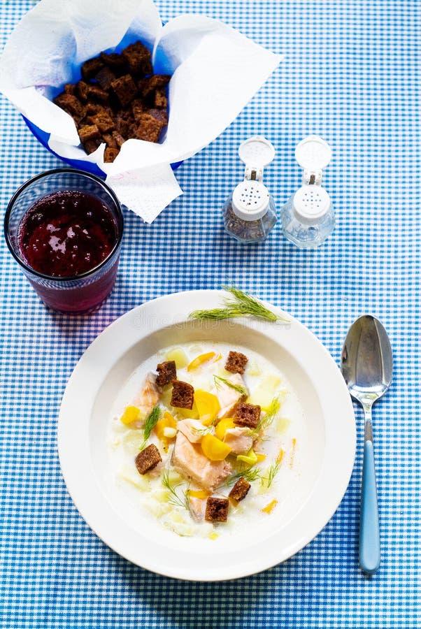 Potage saumoné nordique photo stock
