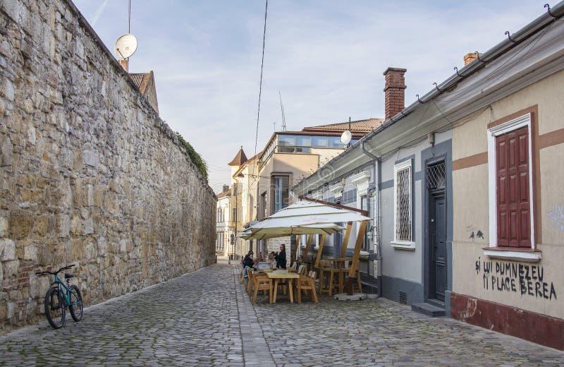 Potaissa gata med rest av medeltida väggar i Cluj, Rumänien royaltyfria foton