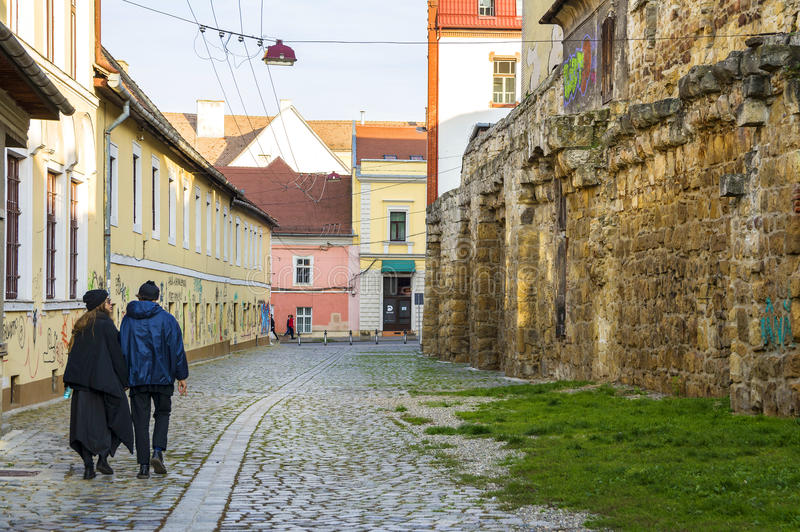 Potaissa gata med rest av medeltida väggar i Cluj, Rumänien royaltyfri foto