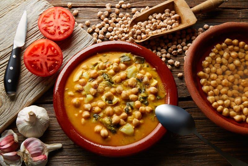 Potaje de Garbanzos chickpea stew Spain. Recipe traditional with ingredients royalty free stock image