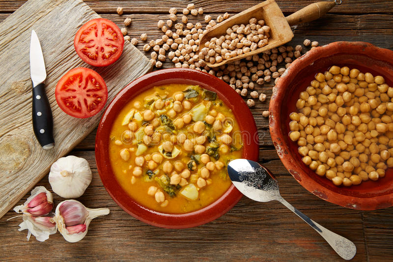 Potaje de Garbanzos chickpea stew Spain. Recipe traditional with ingredients royalty free stock photography