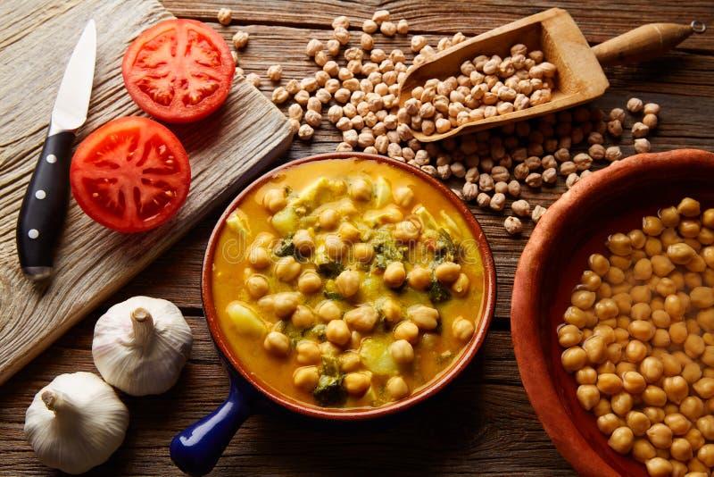 Potaje de Garbanzos chickpea stew Spain. Recipe traditional with ingredients stock photography