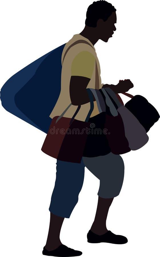 Potajemnie czarni boksery sprzedaje torebki ilustracja wektor