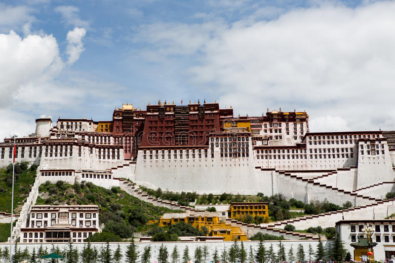 Potala Palace. Dalai lama place. Lhasa, Tibet. The building measures 400 metres east-west and 350 metres north-south, with sloping stone walls averaging 3 m royalty free stock photography