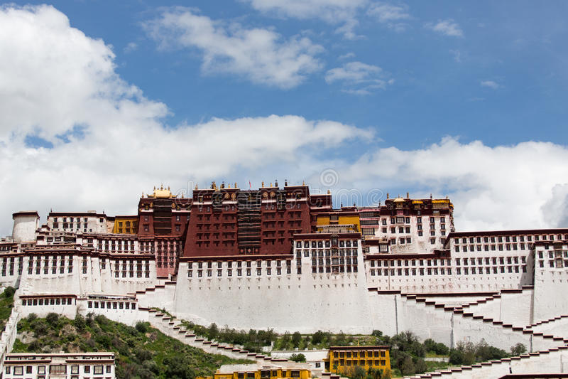 Potala Palace. Dalai lama place. Lhasa, Tibet. The building measures 400 metres east-west and 350 metres north-south, with sloping stone walls averaging 3 m royalty free stock images
