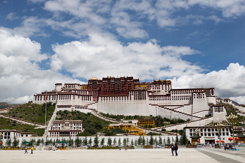 Potala Palace. Dalai lama place. Lhasa, Tibet. The building measures 400 metres east-west and 350 metres north-south, with sloping stone walls averaging 3 m royalty free stock image