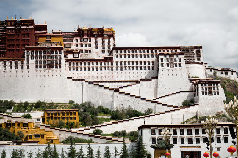 Potala Palace. Dalai lama place. Lhasa, Tibet. The building measures 400 metres east-west and 350 metres north-south, with sloping stone walls averaging 3 m stock images