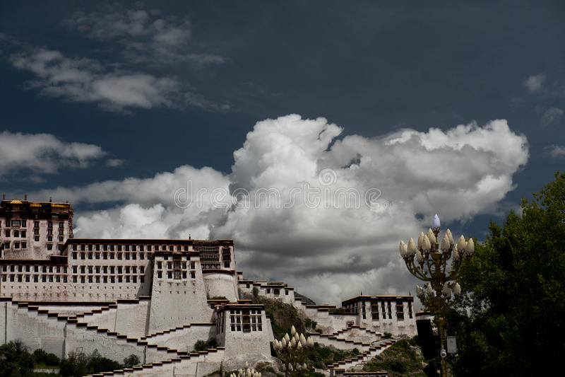 Potala Palace. Dalai lama place. Lhasa, Tibet. The building measures 400 metres east-west and 350 metres north-south, with sloping stone walls averaging 3 m stock photography