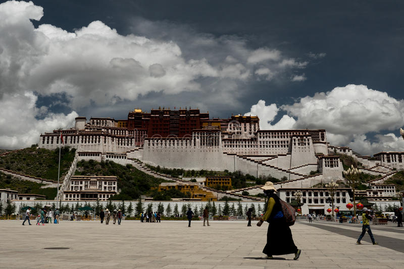 Potala Palace. Dalai lama place. Lhasa, Tibet. The building measures 400 metres east-west and 350 metres north-south, with sloping stone walls averaging 3 m stock image