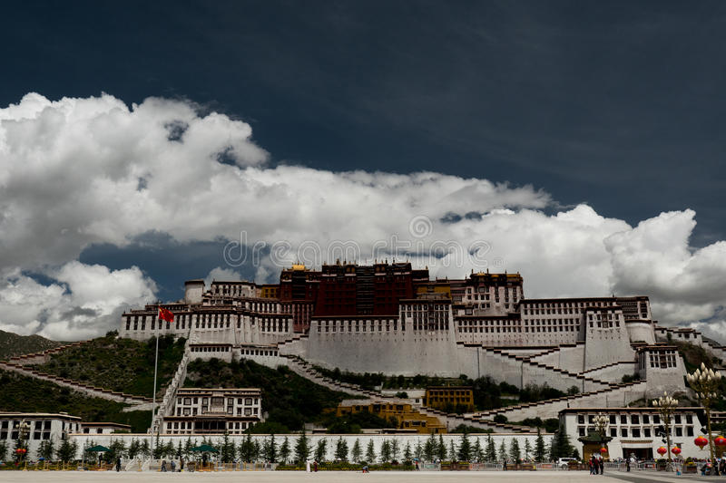Potala Palace. Dalai lama place. Lhasa, Tibet. The building measures 400 metres east-west and 350 metres north-south, with sloping stone walls averaging 3 m stock photos