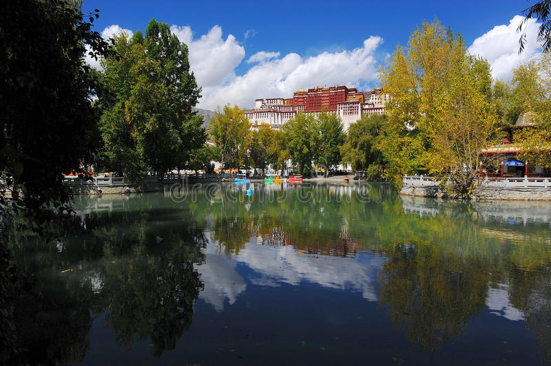 Download Potala Palace And Its Reflections In Pond Stock Photo - Image of orient, decoration: 18253742