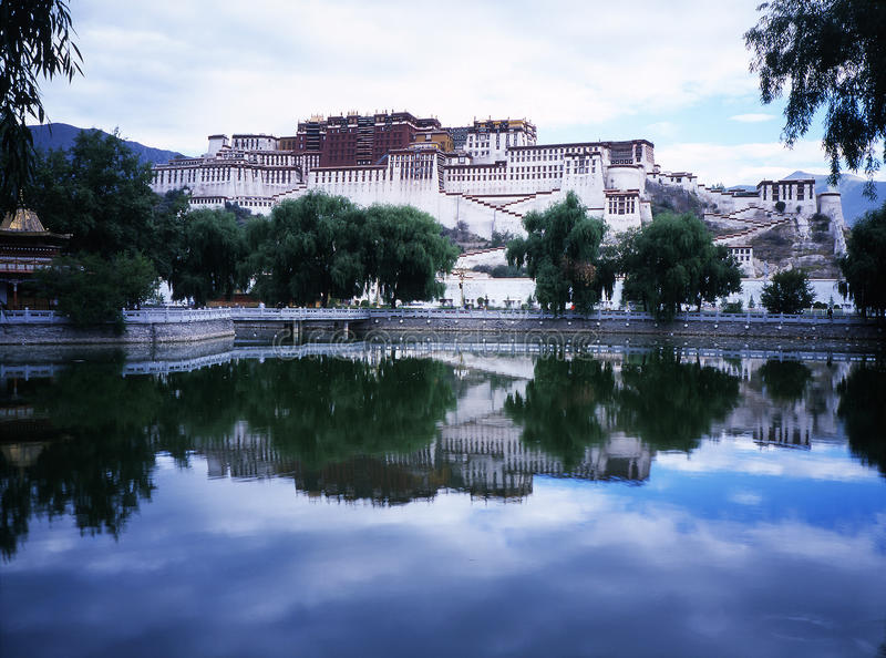 Download Potala palace in Lhasa stock image. Image of inverted - 12600343