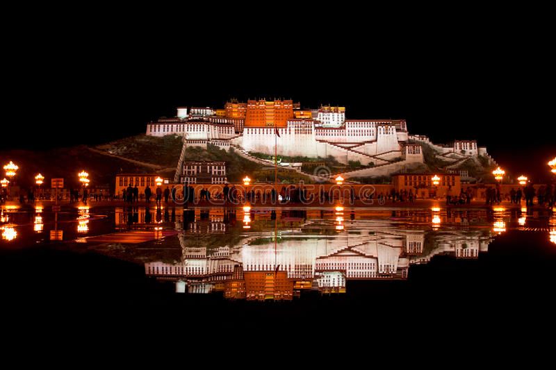 Potala Palace and reflection in pool of water. stock photo