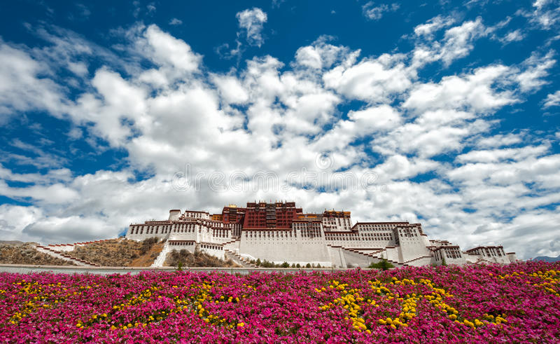 Potala palace in Tibet with flowers foreground stock photo