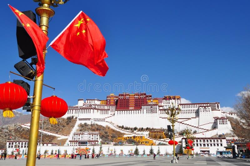 Potala Palace with Waving Flag stock image