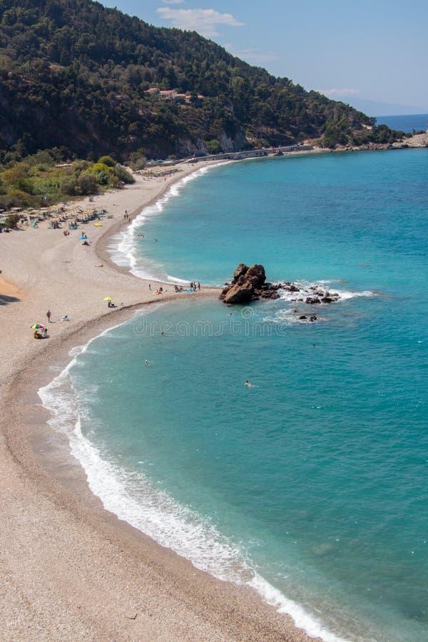Potami beach in Samos island stock image