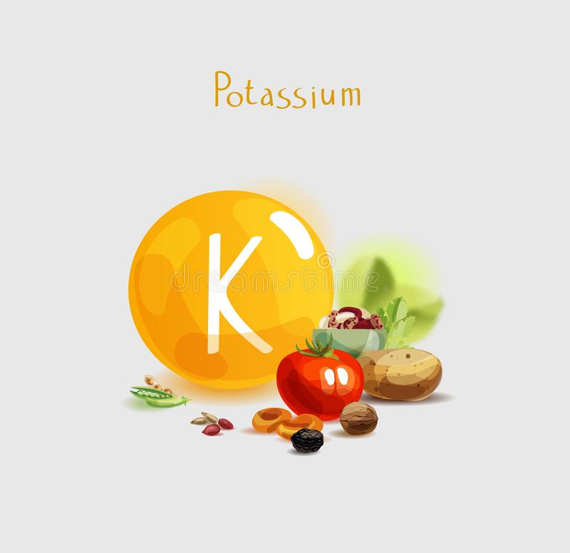 Potassium in food. Natural organic products with a high content of potassium. Healthy nutrition as the basis of a healthy lifestyle stock illustration