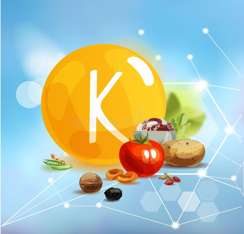 Potassium. Natural organic products with a high content of trace elements  nd the conventional sign Vitamin K on a modern background with polygonal elements vector illustration