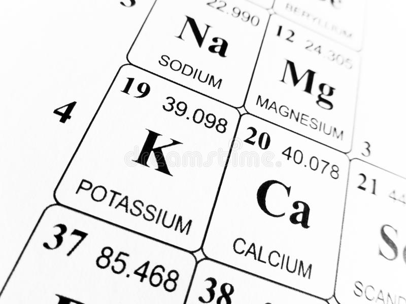 Potassium on the periodic table of the elements stock image