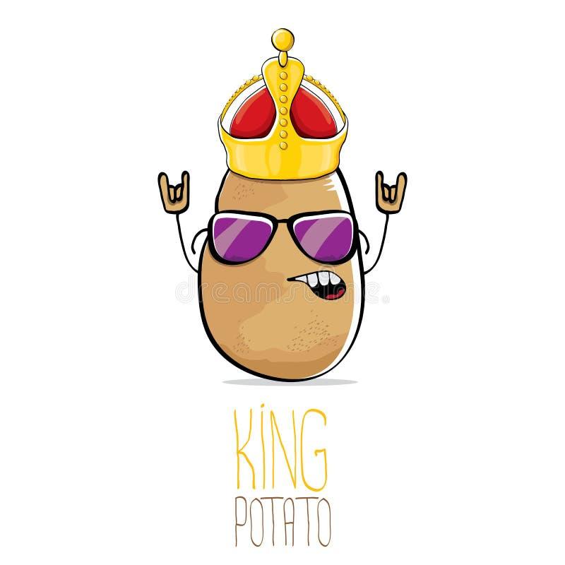 Potatis för konung för rolig tecknad film för vektor kall gullig brun le stock illustrationer