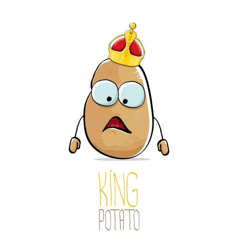 Potatis för konung för rolig tecknad film för vektor kall gullig brun le royaltyfri illustrationer