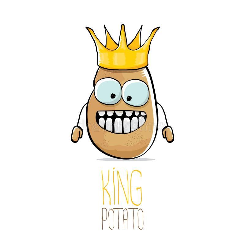 Potatis för konung för rolig tecknad film för vektor kall gullig brun le vektor illustrationer