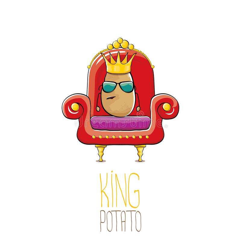 Potatis för konung för rolig tecknad film för vektor kall gullig brun le med guld- kungligt kronasammanträde på biskopsstolen som royaltyfri illustrationer
