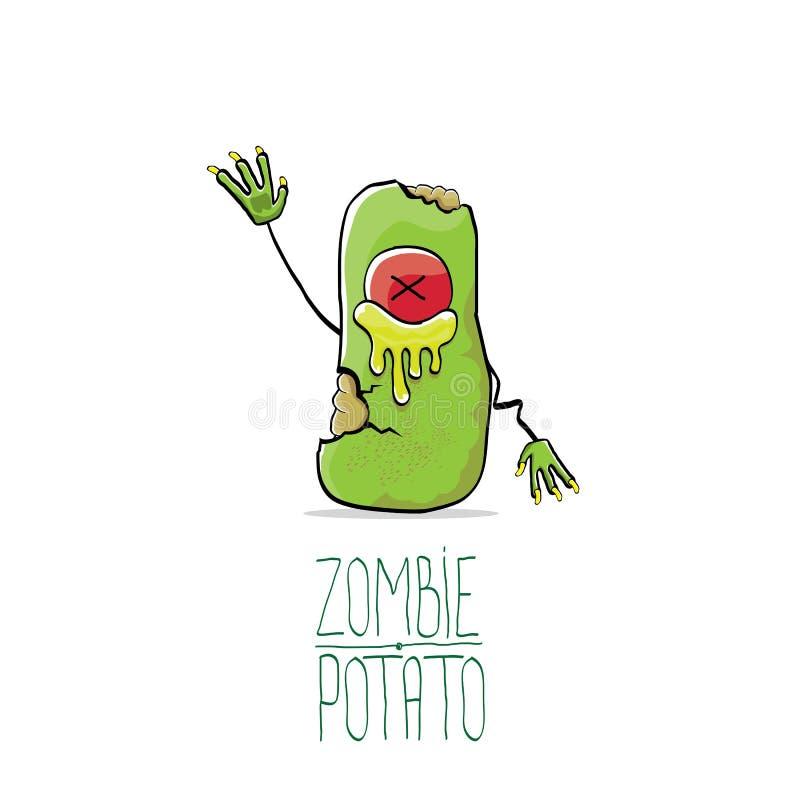 Potatis för levande död för rolig tecknad film för vektor som gullig grön isoleras på vit bakgrund Tecken för gigantisk grönsak f vektor illustrationer