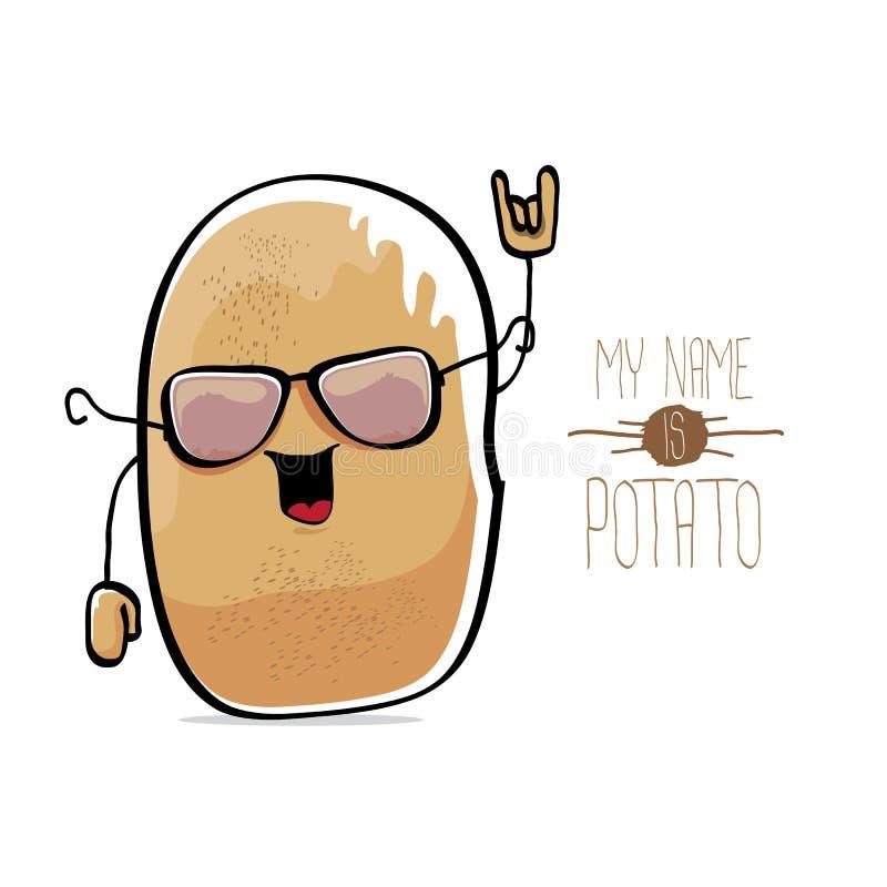Potatis för rolig tecknad film för vektor gullig brun vektor illustrationer