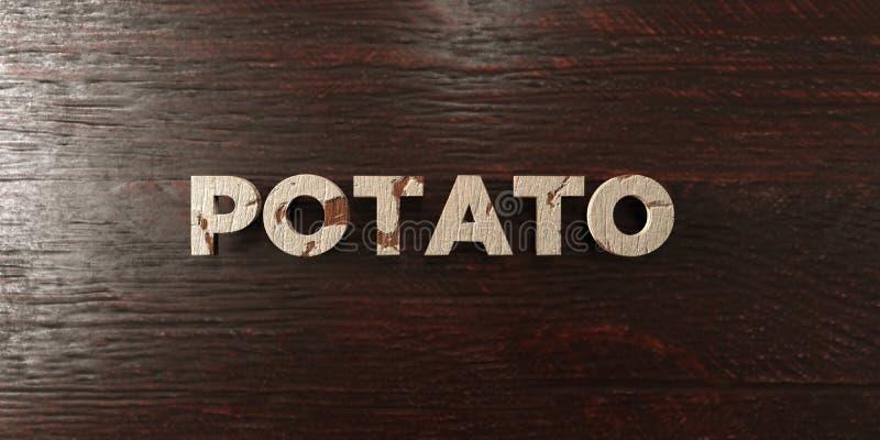Potatis - grungy trärubrik på lönn - 3D framförd fri materielbild för royalty royaltyfri illustrationer