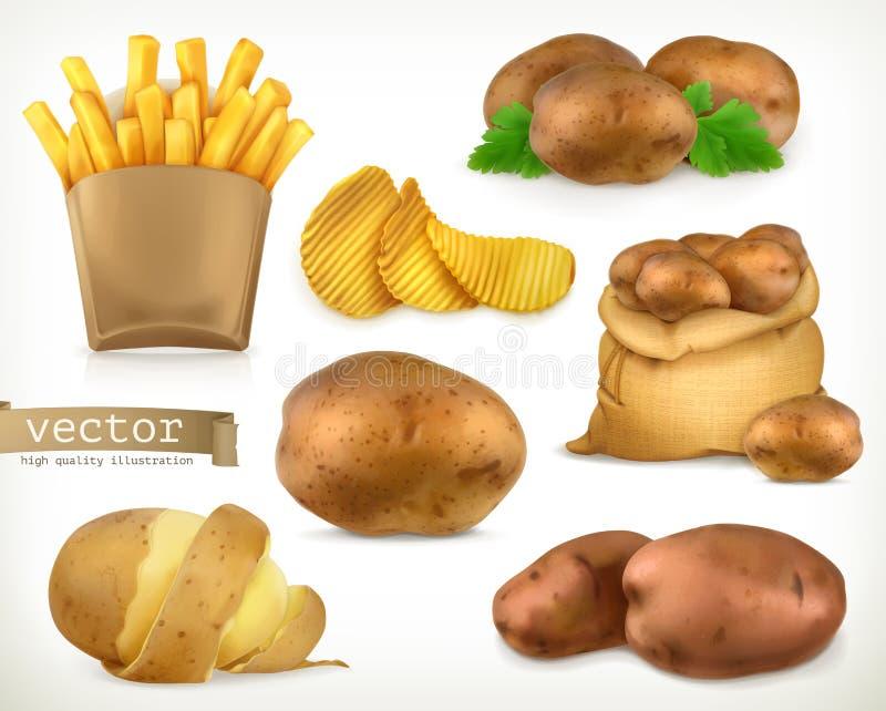 Potatis- och småfiskchiper Uppsättning för grönsakvektorsymbol royaltyfri illustrationer