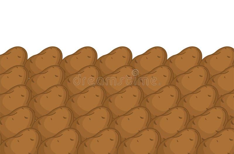 Potatis p? r?knarebakgrund Potatisar p? marknad st?ller ut r vektor illustrationer