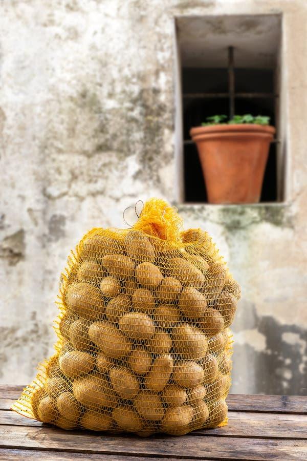 Potatisar i de gula netto produktgrönsakerna som är unga, mot en gammal grå väggbakgrund royaltyfri bild