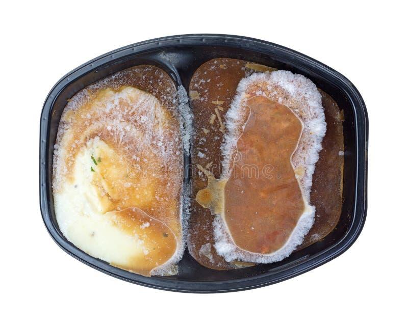 Potatisar och Meat Loaf fryst TVmatställe arkivfoto