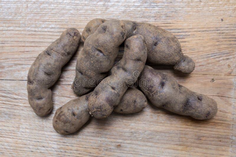 Potatisar på lantligt wood begrepp arkivfoton