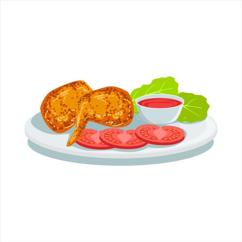 Potatischiper, ketchup och tomat, illustration för platta för Oktoberfest gallermat vektor illustrationer